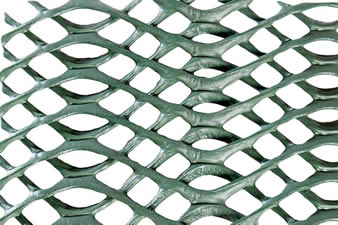 A piece of green anti-slip grass protection mesh on the white background.