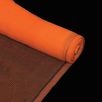A roll of orange debris netting with reinforced edge.
