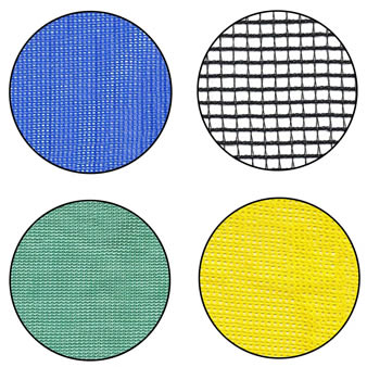 Four types of debris netting with different colors.