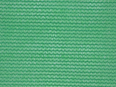 A piece of green shade cloth with round strands on the white background.