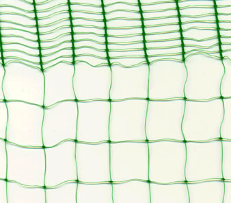 A piece of green extruded bird netting on the white background with a reinforced edge.