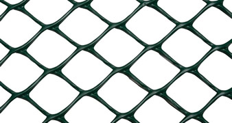 A piece of diamond extruded plastic mesh on the white background.