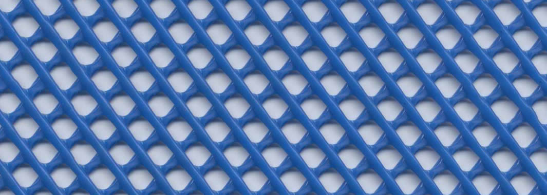a piece of blue extruded plastic screen mesh on the table.