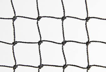 A piece of square knotted bird netting on the white background.
