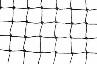 A piece of black square knotted plastic mesh on the white background.