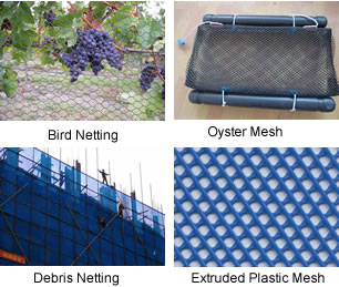 Bird netting, oyster mesh, debris netting and extruded plastic mesh.