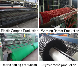 Plastic geogrid, warning barrier fence, debris netting and oyster mesh production.
